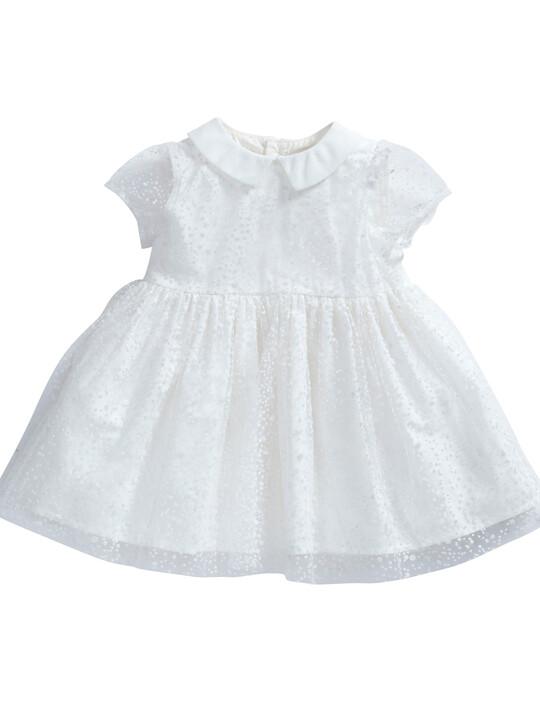 فستان ذو ياقة مصنوع من قماش منقط باللون الأبيض image number 1