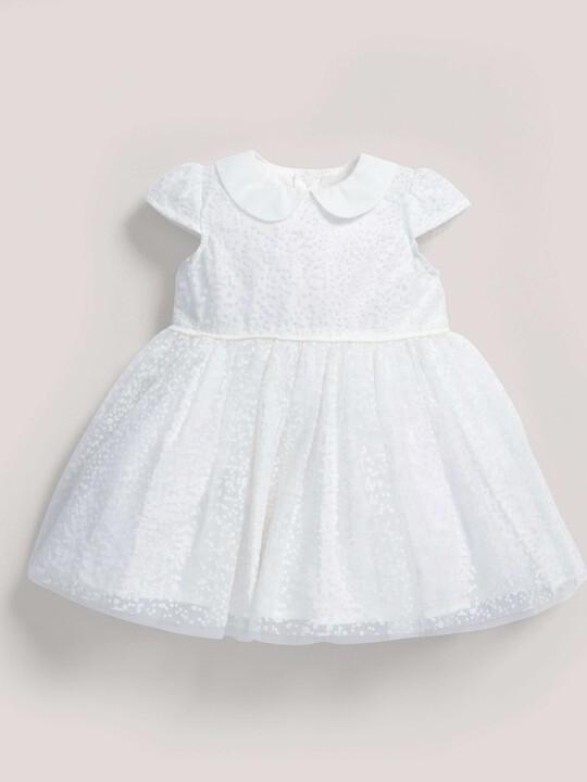 فستان ذو ياقة مصنوع من قماش منقط باللون الأبيض image number 2
