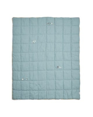 Welcome to the World Quilt - Cotbed/Cot - Blue