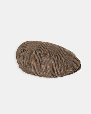 قبعة مسطحة بنقشة مربعات - بني