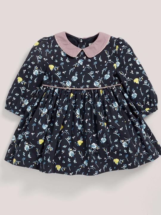 فستان قطني بنقشة الورود ذو ياقة - باللون الأزرق البحري image number 3