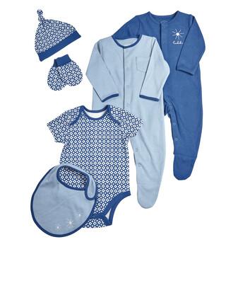 طقم ملابس باللون الأزرق، 6 قطع