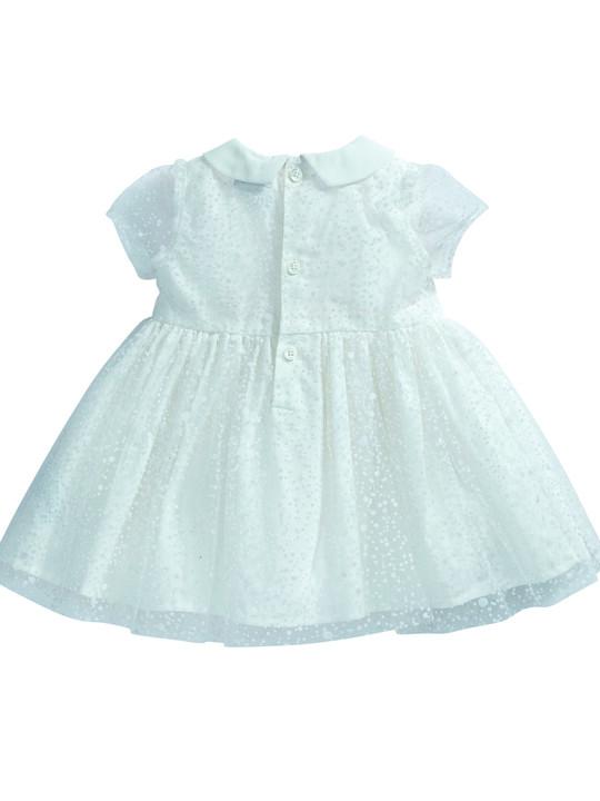 فستان ذو ياقة مصنوع من قماش منقط باللون الأبيض image number 6