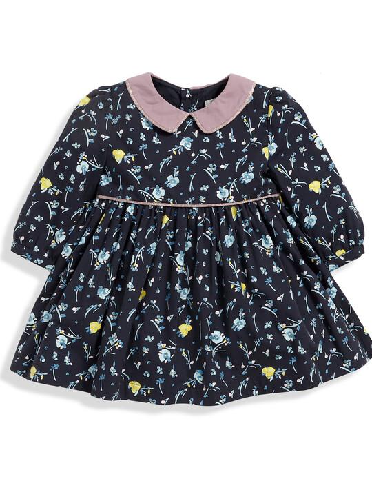 فستان قطني بنقشة الورود ذو ياقة - باللون الأزرق البحري image number 1