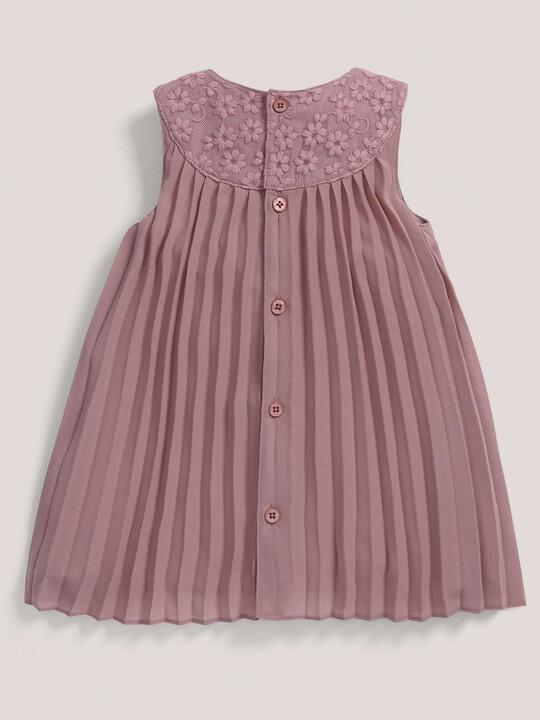 فستان ذو ثنيات وياقة من شريط الزينة باللون الوردي image number 2