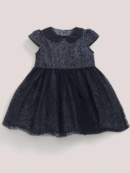 فستان مناسبات المنقط باللون الأزرق البحري: image number 1