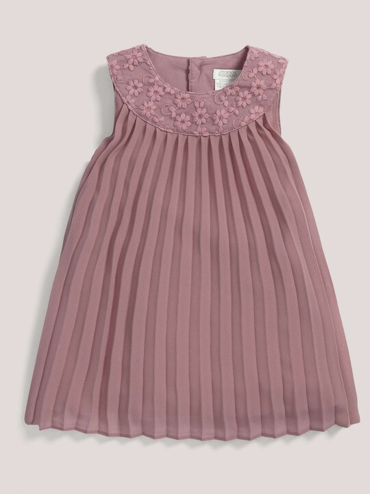 فستان ذو ثنيات وياقة من شريط الزينة باللون الوردي image number 1