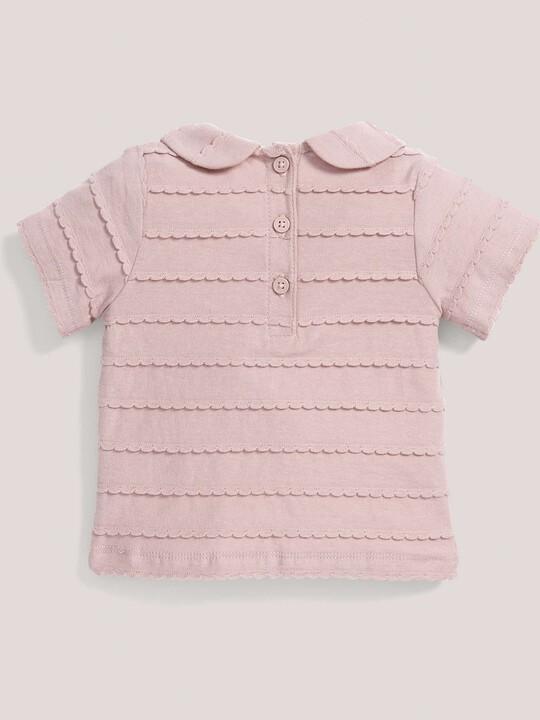 القميص المنقوش ذو الياقة باللون الوردي image number 2