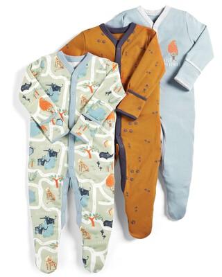 Zoo Sleepsuits - Pack of 3