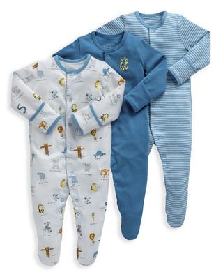 Animal Alphabet Jersey Cotton Sleepsuits 3 Pack