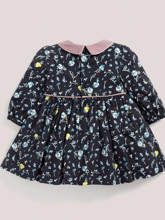 فستان قطني بنقشة الورود ذو ياقة - باللون الأزرق البحري image number 2