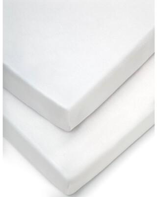 شرشف للمهد بحواف مطاطية (عبوة من قطعتين) - أبيض