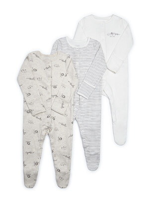 3PK ANIMAL S/SUITS NB:SAND:NEW
