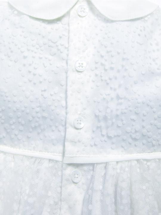 فستان ذو ياقة مصنوع من قماش منقط باللون الأبيض image number 5
