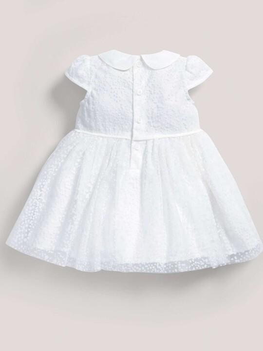 فستان ذو ياقة مصنوع من قماش منقط باللون الأبيض image number 3