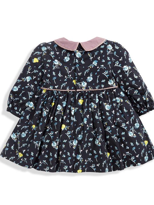 فستان قطني بنقشة الورود ذو ياقة - باللون الأزرق البحري image number 4