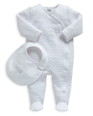 White Textured All-In-One with Bib