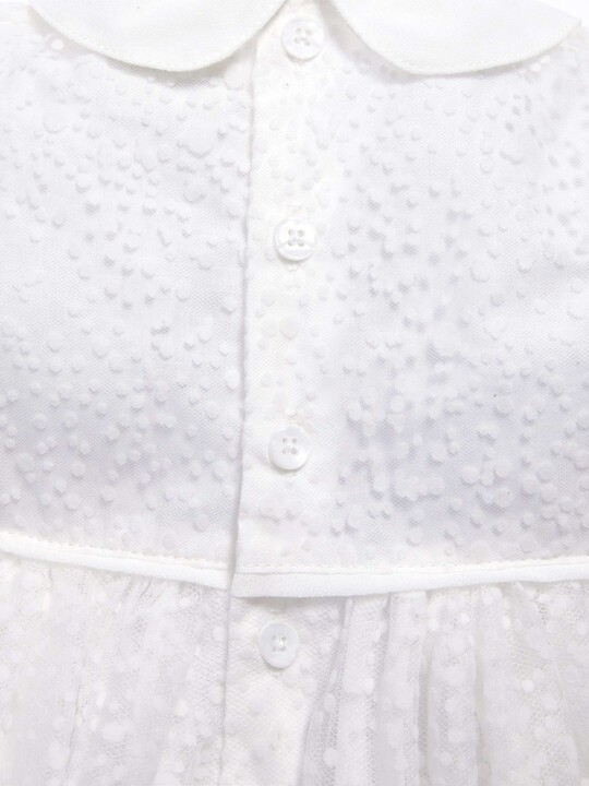فستان ذو ياقة مصنوع من قماش منقط باللون الأبيض image number 4