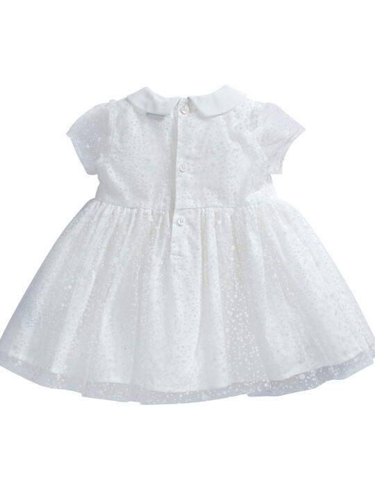 فستان ذو ياقة مصنوع من قماش منقط باللون الأبيض image number 7