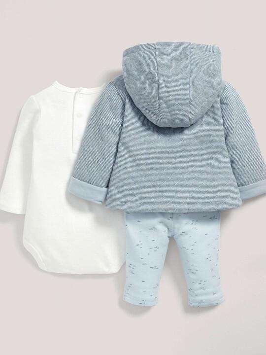 Blue Quilted Jacket, bodysuit & Leggings Set image number 2