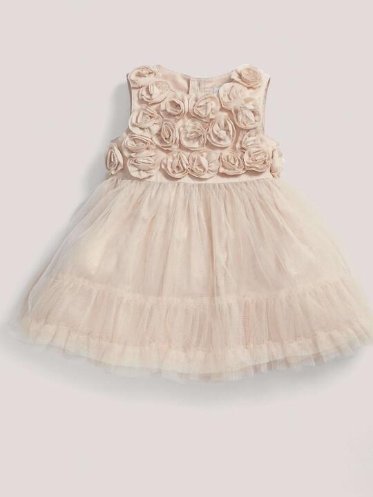 فستان مناسبات وردي ذو طبقة شبكية image number 1