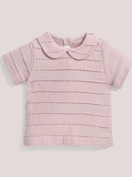 القميص المنقوش ذو الياقة باللون الوردي image number 1
